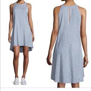 Theory 0 blue linen sleeveless dress adlerdale